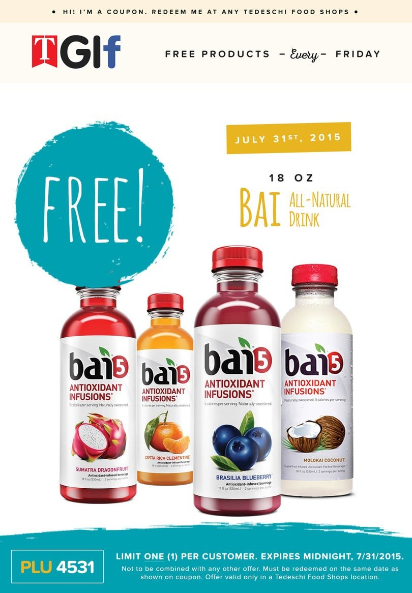 Free Bai All Natural Drink at Tedeschi Food Shops on 7/31