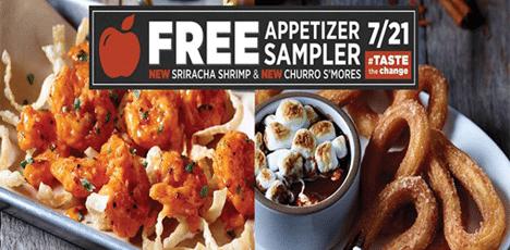 Free Appetizer Sampler at Applebee's on 7/21