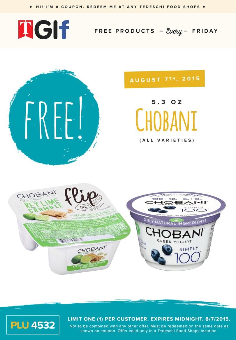 Free Chobani Yogurt at Tedeschi Food Shops on 8/7