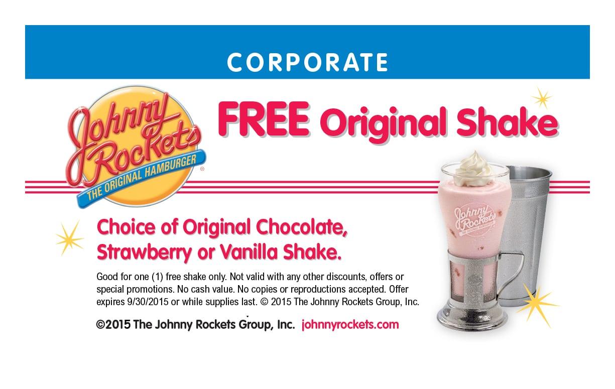Free Original Shake at Johnny Rockets (US Only)