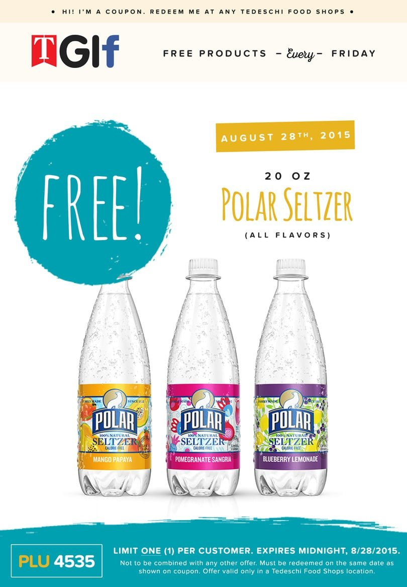 Free 20oz Bottle of Polar Seltzer at Tedeschi Food Shops on 8/28