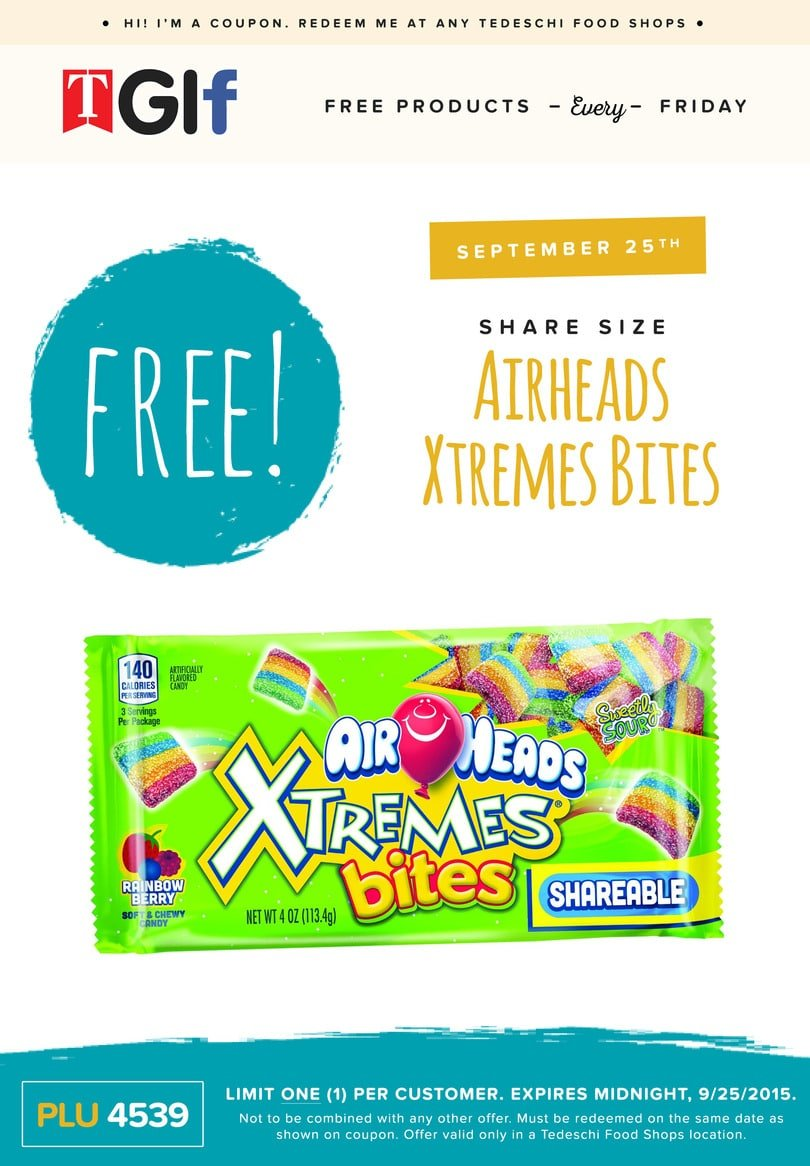 Free Airheads Xtremes Bites at Tedeschi Food Shops Today