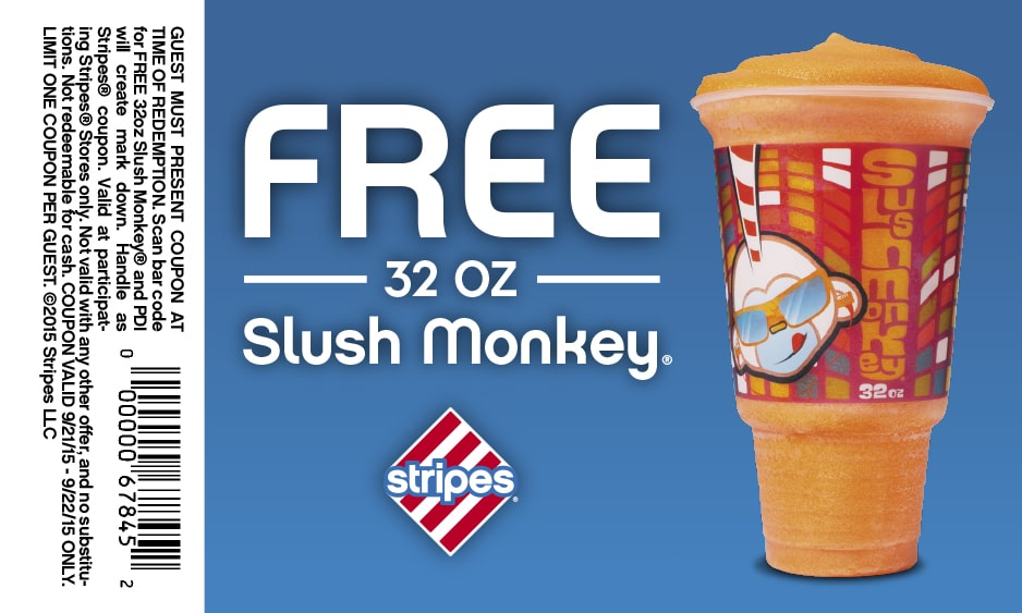 Free Slush Monkey at Stripes Stores