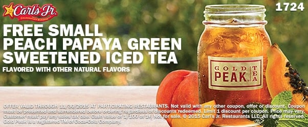 Free Small Peach Papaya Green Sweetened Iced Tea at Carl's Jr.