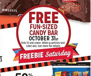 Free Fun-sized Candy Bar for Kids at Kmart on 10/31