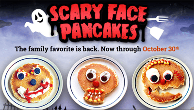 Free Kids Scary Face Pancake for Kids at IHOP on 10/30
