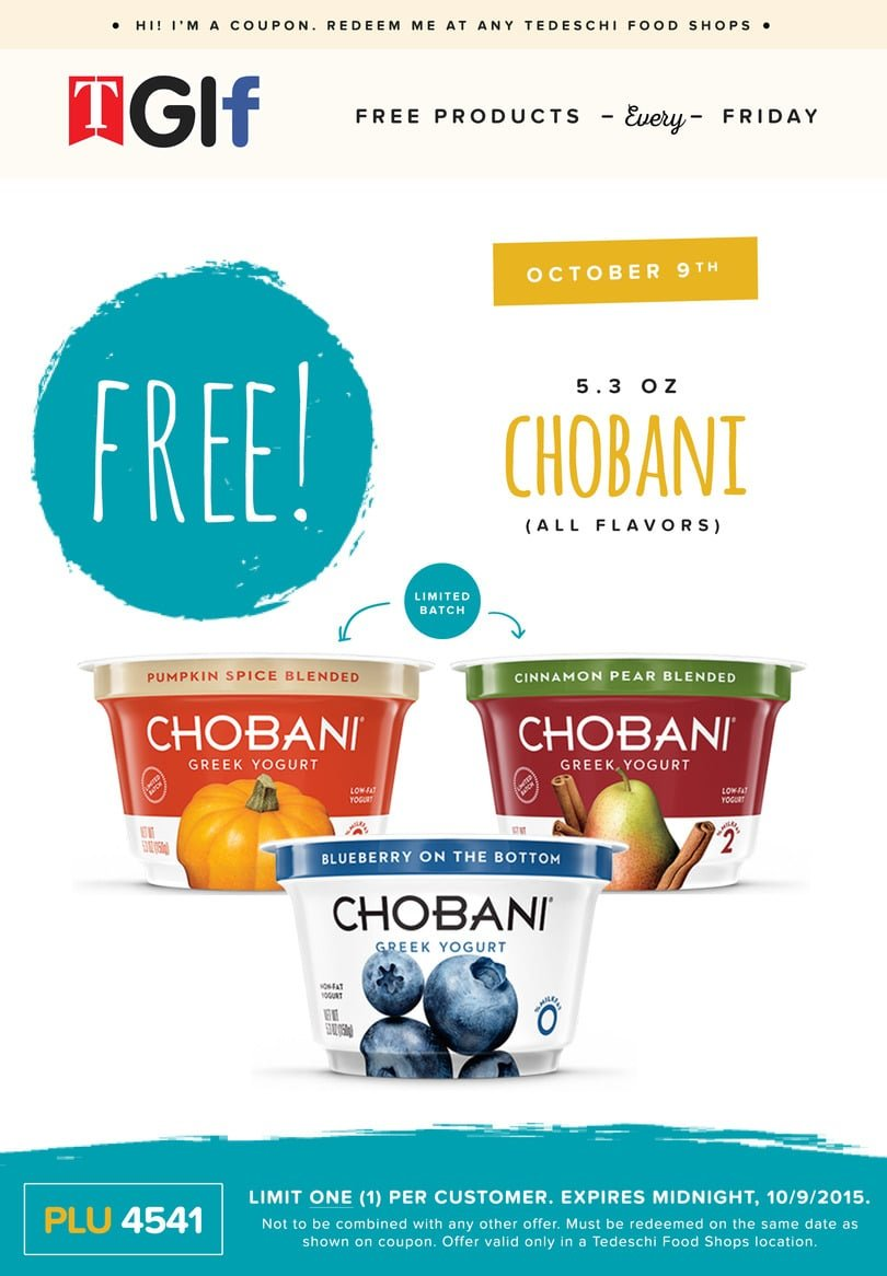 Free Chobani Greek Yogurt at Tedeschi Food Shops Today
