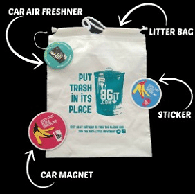 Free 86it Litter Bag, Air Freshener, Magnet, and Sticker