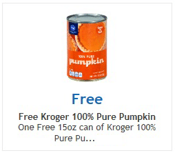 Free 15 oz Can of Kroger 100% Pure Pumpkin at Ralphs