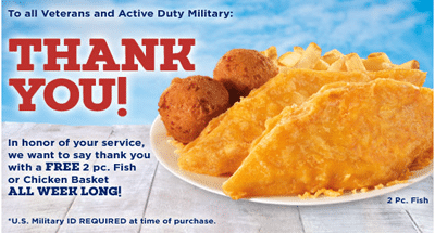 Free 2 Piece Fish or Chicken Basket for Veterans and Military at LJS 11/9-11/13