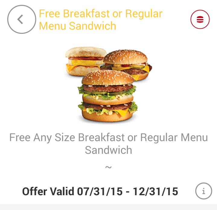 FREE McDonald's Sandwich – No Purchase Necessary, Registration Required