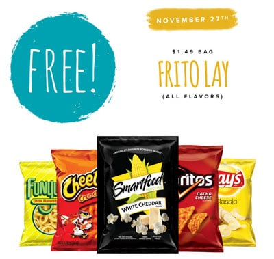 FREE Frito Lay Snacks! Only At Tedeschi Food Shops Friday 11/27/15