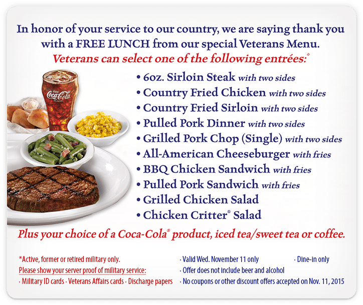 Free Lunch on the House for Veterans and Active Duty Military at Texas Roadhouse