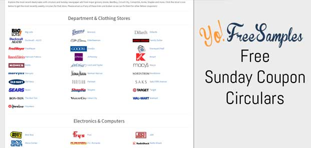 YoFreeSamples Sunday Coupon Ad Circulars For Extreme Couponers Collection