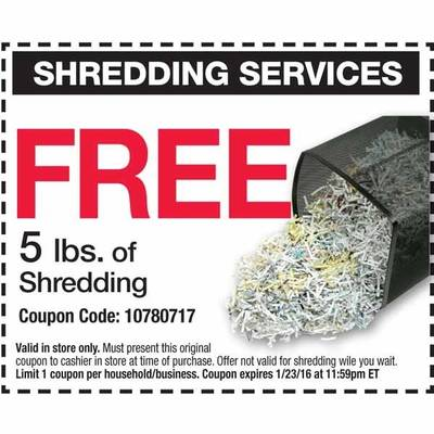 FREE 5 Lbs Document Shredding Coupon at Office Depot/OfficeMax