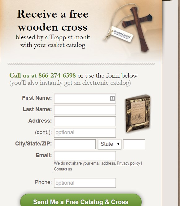 FREE Wooden Cross Blessed by Trappist Monks