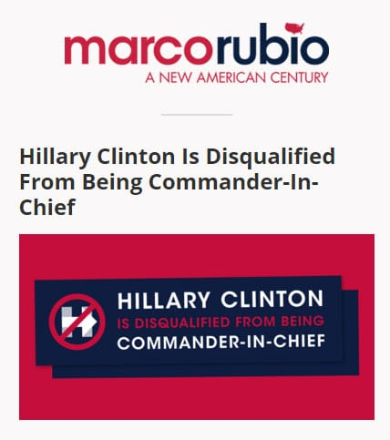 "FREE ""Hillary Clinton Is Disqualified From Being Commander-In-Chief"" Bumper Sticker From Marco Rubio Campaign"
