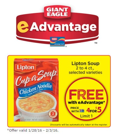 FREE Lipton Chicken Noodle Soup Product at Giant Eagle (Advantage Card Required)