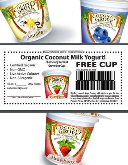 FREE Coconut Grove Organic Coconut Milk Yogurt Cup Printable Coupon