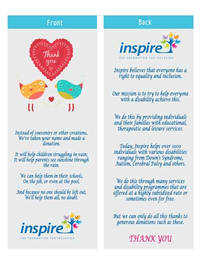 FREE Inspire Bookmark From The Foundation For Inclusion