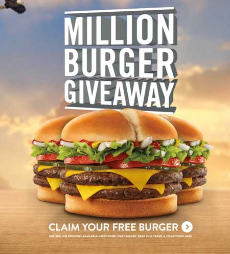 FREE Burgers From Million Burger Giveaway At Jack In The Box (Email or Text Required)
