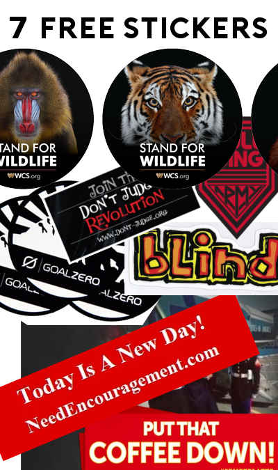 """6 FREE Stickers Today: Wildlife Animal Sticker, """"Put That Coffee Down"""" Bumper Sticker, """"Today is a New Day"""" Bumper Sticker, Goal Zero Sticker, Blind Skateboards Sticker, Gullwing Army Stickers & """"Join The Don't Judge Revolution"""" Magnet"""