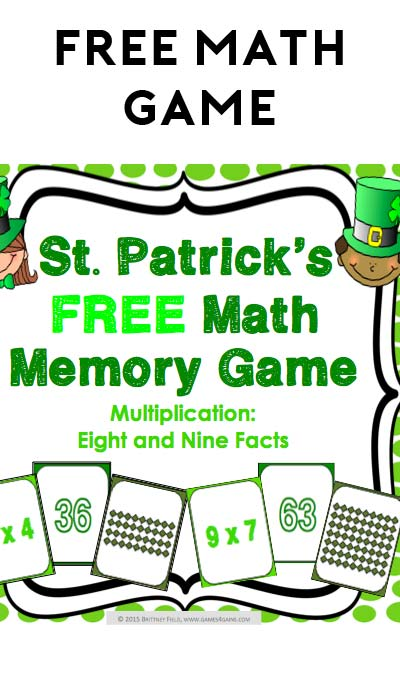 FREE St. Patrick's Math Memory Game