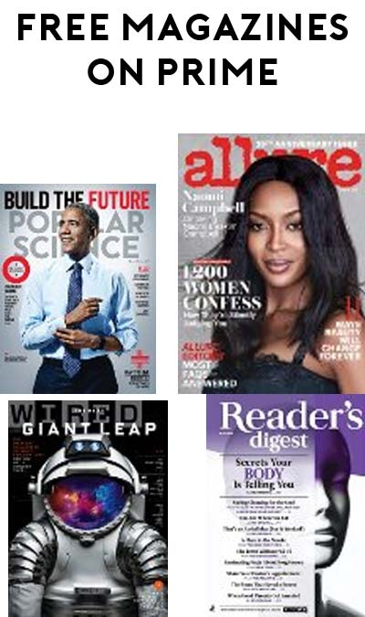 3 FREE 4-Month Magazine Subscriptions For Amazon Prime Members