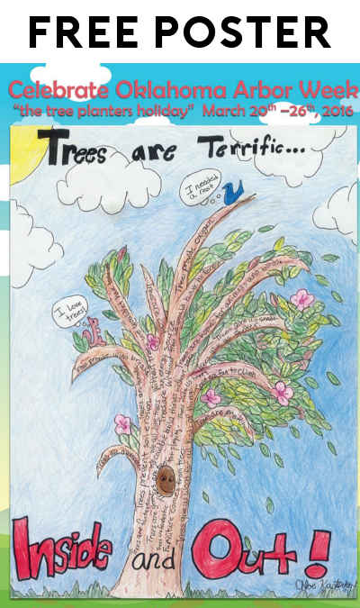 "FREE 2016 Arbor Week ""Trees Are Terrific"" Poster and Bookmark"
