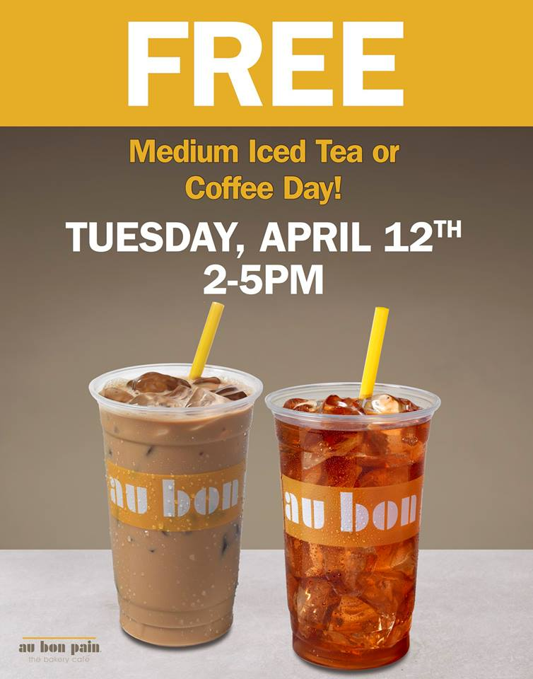 Today! FREE Medium Iced Tea or Iced Coffee At Au Bon Pain April 12th From 2-5PM