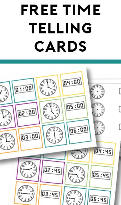 FREE Telling Time Practice Cards for Kids Ages 4 to 7