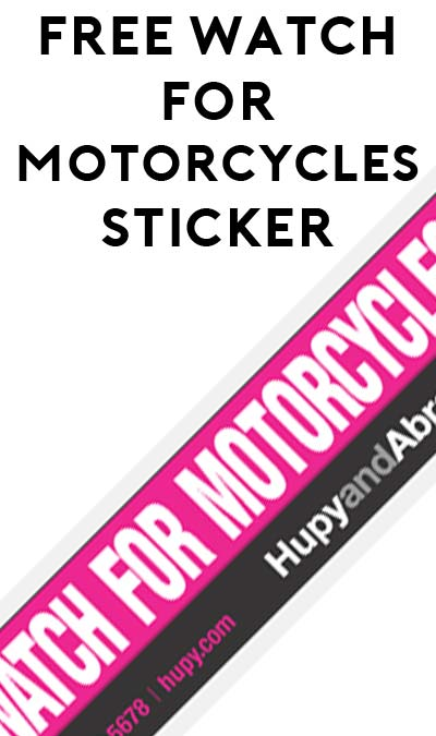 "FREE Pink ""Watch For Motorcycles"" Sticker"