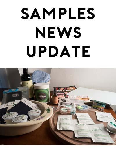 Samples Update: Inkkas Shoes, Red Seal Hat, Skoal Gift, Flyte Socks, Colgate Sensitive Pro-Relief Toothpaste, Head Massager, Tea Sample Set, Soaptree Soaps, Fine Print Imaging Paper Samples, Get A Ride Don't Drink & Drive Bumper Sticker, Green Zinger, Universal Screen Cleaner & Bo Peep's Bonnets Hats