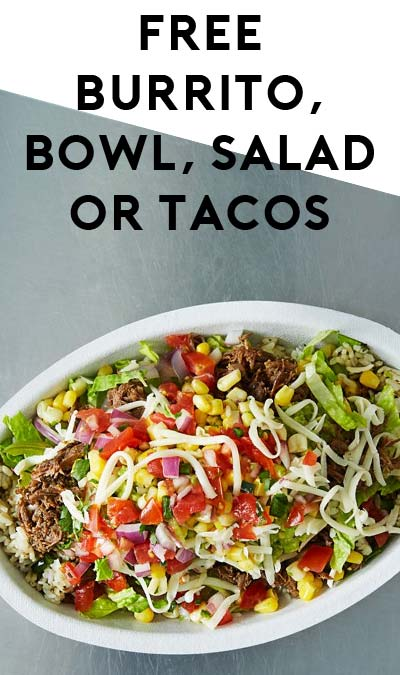 FREE Burrito, Bowl, Salad or Tacos From Chipotle Mexican Grill (Mobile Phone Required)
