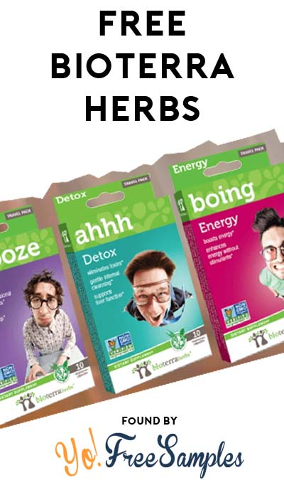FREE Sooze (Sleep), Ahh (Detox) & Boing (Energy) BioTerra Herbs Travel Pack [Verified Received By Mail]