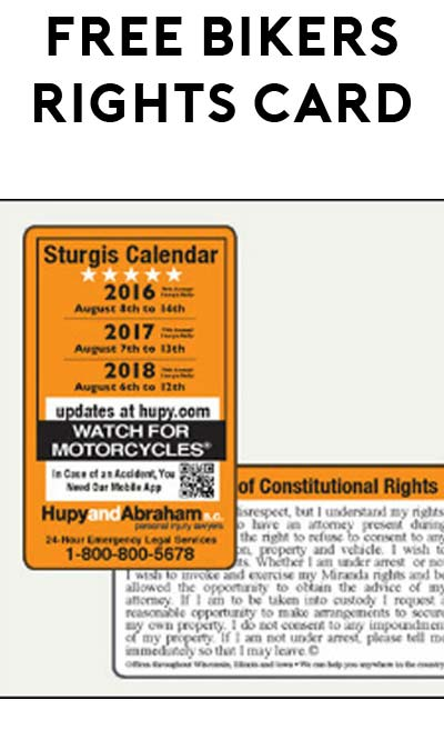 FREE Bikers' Rights & Sturgis Calendar Card (Iowa, Illinois and Wisconsin Only)