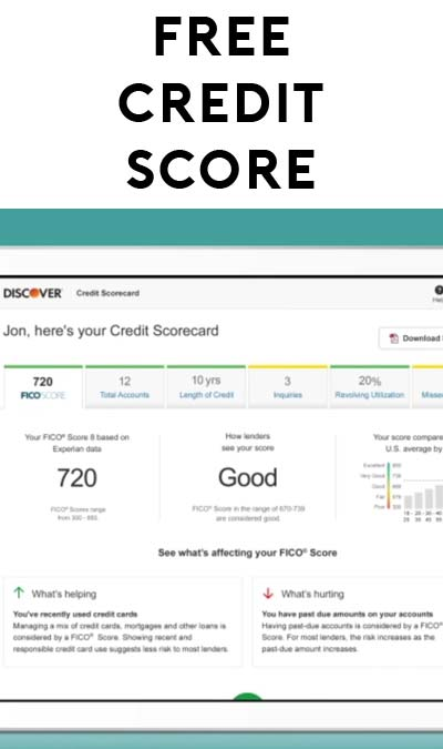 FREE Experian FICO Score Report From Discover (SSN Required)