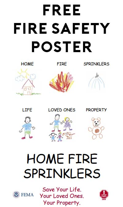 FREE Home Fire Sprinklers Children's Poster