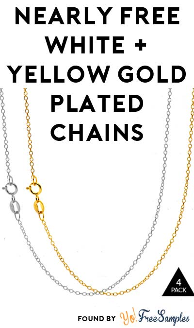 Almost FREE 4-Pack Of White & Yellow Gold Plated Chains ($4.99 Shipping Required)