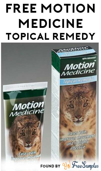 HAS A SHIPPING CHARGE NOW! Nearly FREE Motion Medicine Topical Remedy Sample