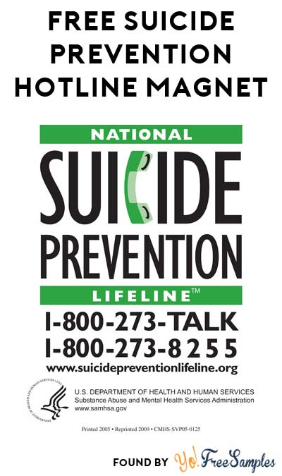 FREE National Suicide Prevention Lifeline Magnet [Verified Received By Mail]