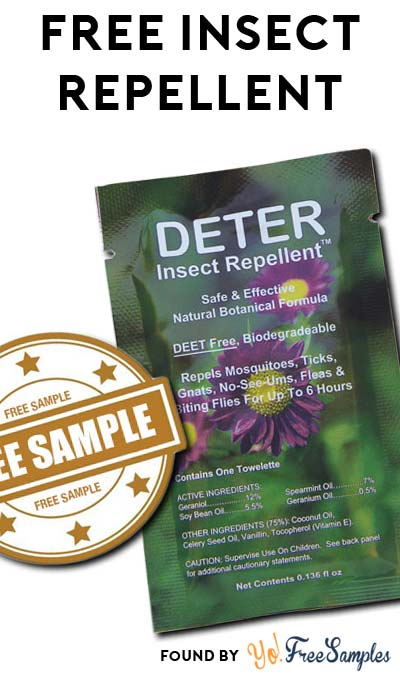 FREE Natural Deter Natural Insect Repellent Towelette