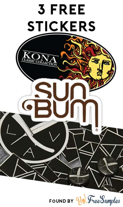 3 FREE Stickers Today: Kona Surf Stickers, ZLVA Clothing Stickers & Sun Bum Stickers