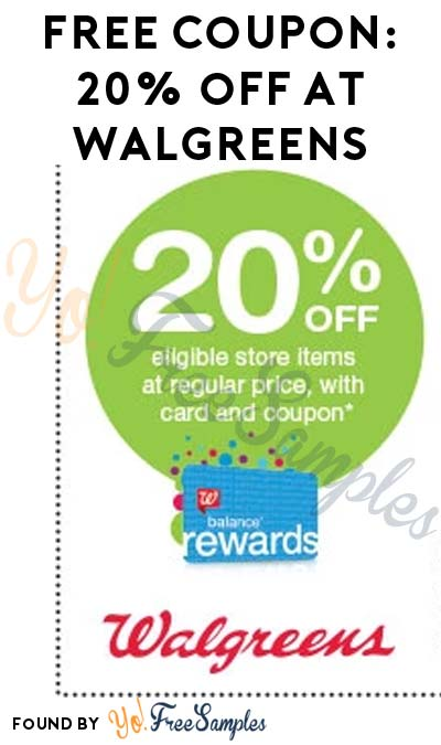 FREE Coupon For 20% Off Walgreens or Duane Reade 7/29 Only