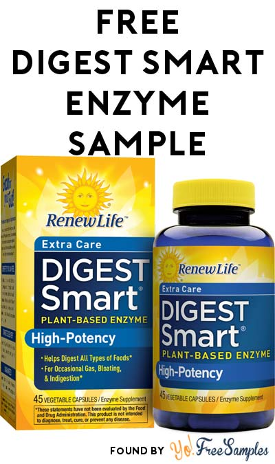 FREE RenewLife Digest Smart Plant-Based Digestive Enzyme Sample [Verified Received By Mail]