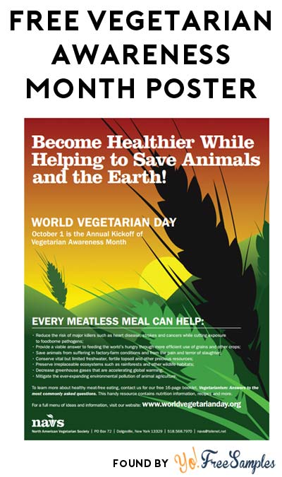 FREE Vegetarian Awareness Month Poster [Verified Received By Mail]