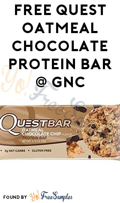 TODAY ONLY: FREE Quest Oatmeal Chocolate Protein Bar at GNC