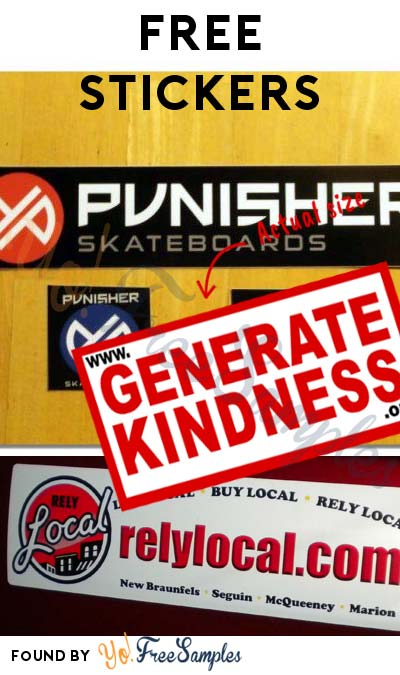 3 FREE Stickers: Generate Kindness Sticker, Punisher Skateboard Stickers & RelyLocal Bumper Sticker