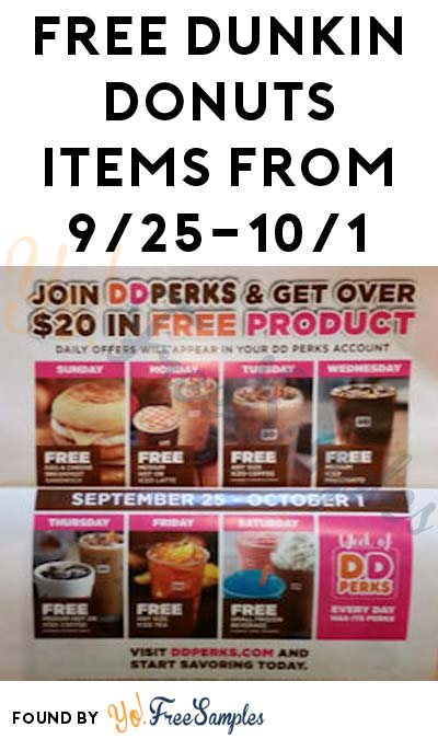 FREE Dunkin Donuts Items Everyday From 9/25-10/1