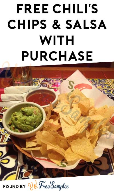 FREE Chili's Chips & Salsa/Gaucamole/Queso With Adult Entree Purchase